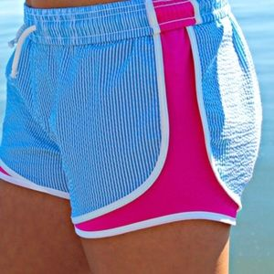 Lauren James Shorts - Lauren James Shorties in Turquoise/Pink Seersucker